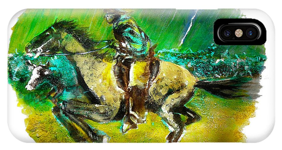 A Study Of Remington IPhone X Case featuring the painting A Study of Remington by Seth Weaver