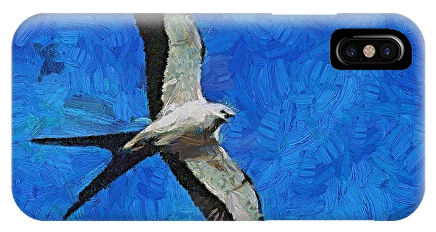 A Swallow IPhone X Case featuring the painting A Swallow And The Moon by Dragica Micki Fortuna