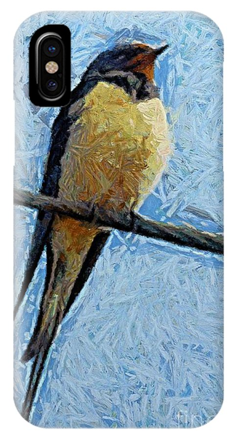 A Swallow IPhone X Case featuring the painting A Swallow On A Wire by Dragica Micki Fortuna