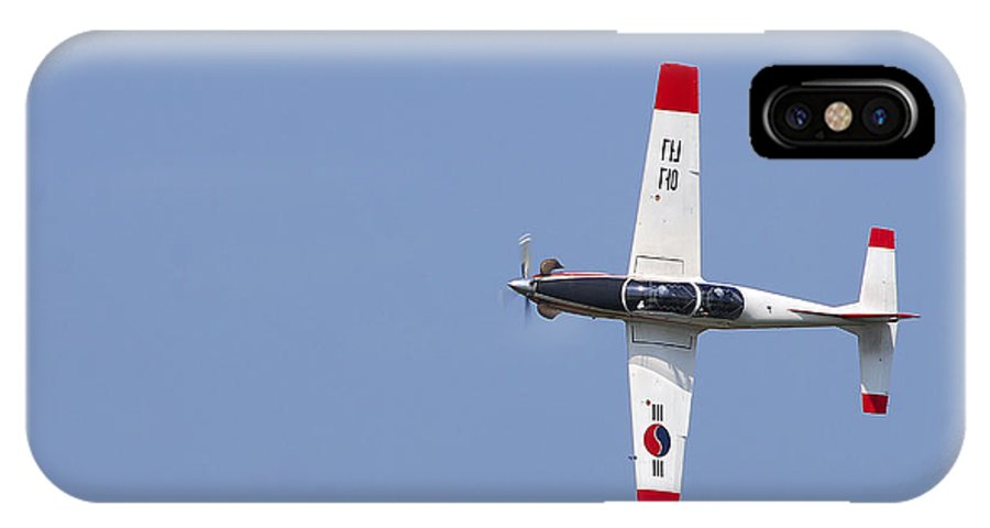 Air Force IPhone X Case featuring the photograph A T-50 Golden Eagle Aircraft In Flight by Stocktrek Images