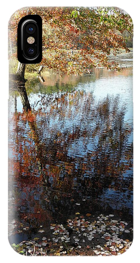 Reflection IPhone X / XS Case featuring the photograph A Trees Reflection And Fallen Leaves by Kim Galluzzo Wozniak