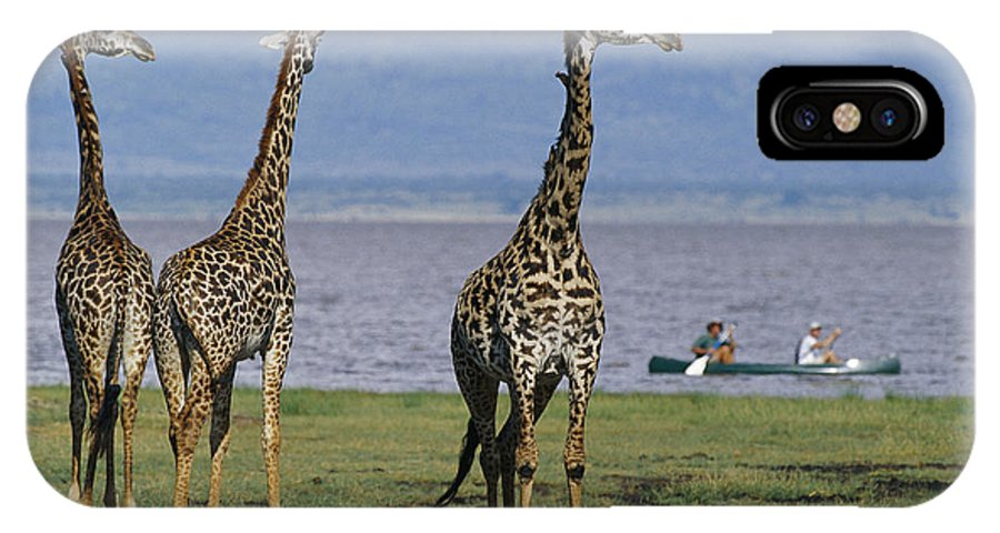 Africa IPhone X / XS Case featuring the photograph A Trio Of Giraffes Near The Edge by Richard Nowitz