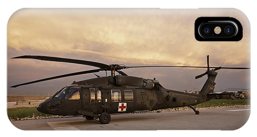 Blackhawk IPhone X Case featuring the photograph A Uh-60l Black Hawk Medevac Helicopter by Terry Moore