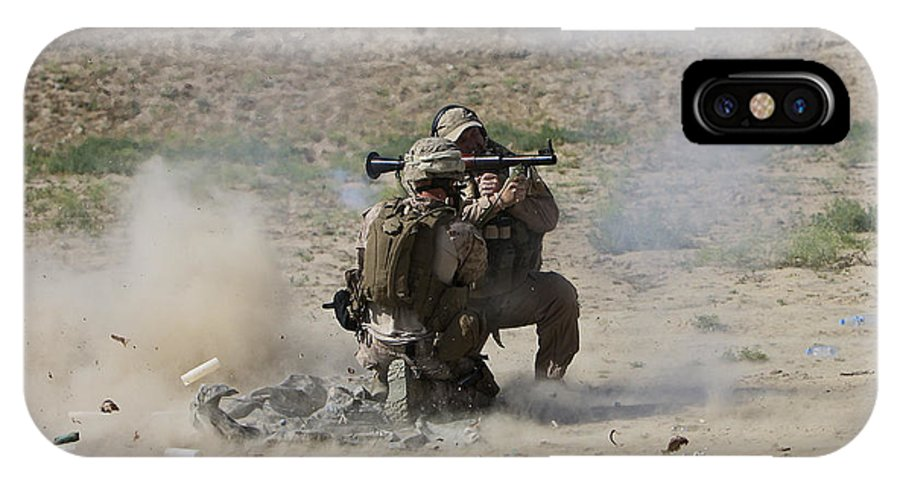 Soldier IPhone X Case featuring the photograph A U.s. Contractor Fires by Terry Moore