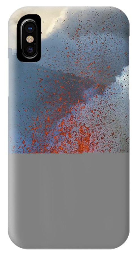 Natural Forces And Phenomena IPhone X Case featuring the photograph A Violent Eruption Of Lava Spews High by Carsten Peter