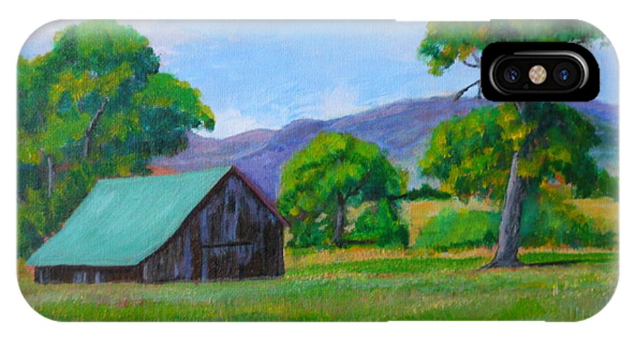 Barns IPhone X Case featuring the painting Abandoned Barn by Michael Brennan
