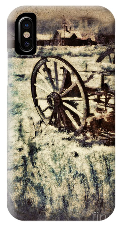 Wagon IPhone X Case featuring the photograph Abandoned Wagon By Old Ghost Town. by Jill Battaglia