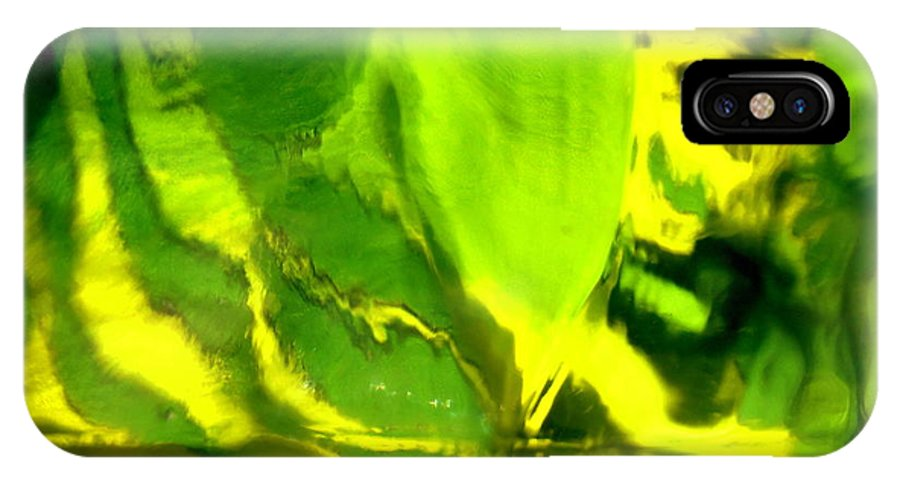 Green IPhone X Case featuring the photograph Abstract 1677 by Stephanie Moore