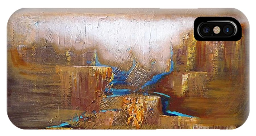 Abstract IPhone X Case featuring the painting Abstract-36 by Monika Shepherdson