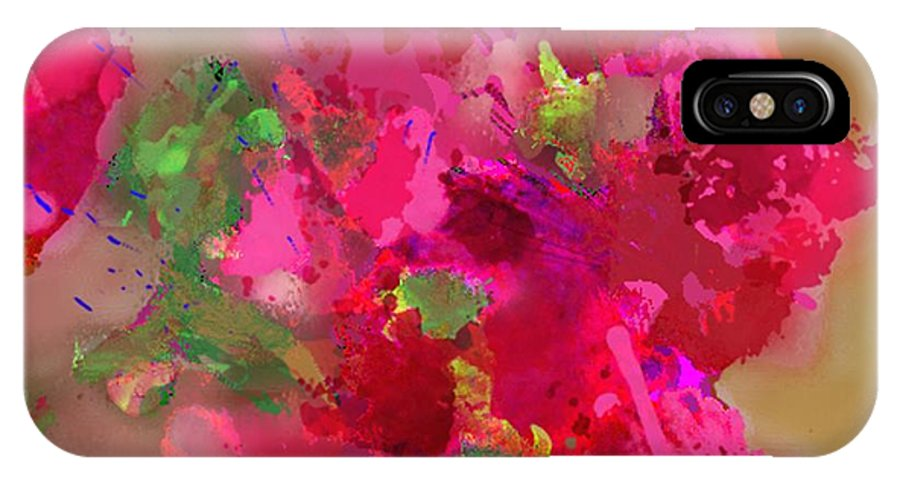 Abstract IPhone X Case featuring the painting Abstract Bougainvillea Painting Floral Wall Art by Judy Filarecki