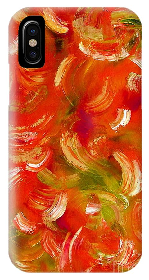Red IPhone X Case featuring the painting Abstract In Motion by Gwen Baptiste