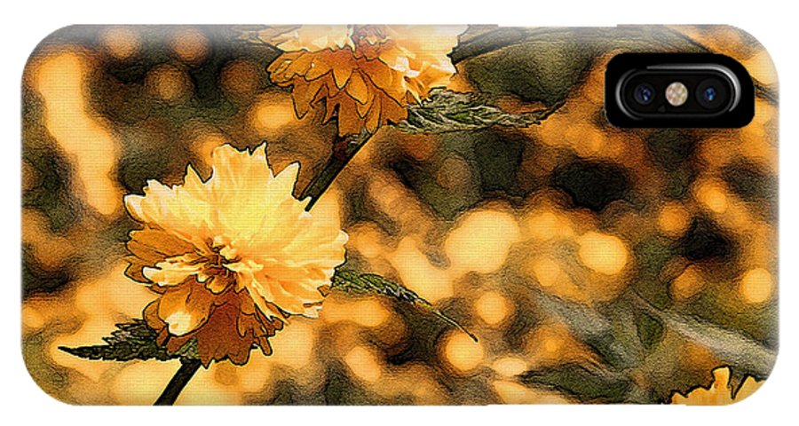 Abstract IPhone X Case featuring the photograph Abstract Of Yellow Flowers by Mick Anderson