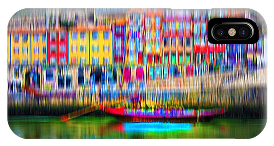 City IPhone X Case featuring the digital art abstract Portuguese city Porto-3 by Joel Vieira