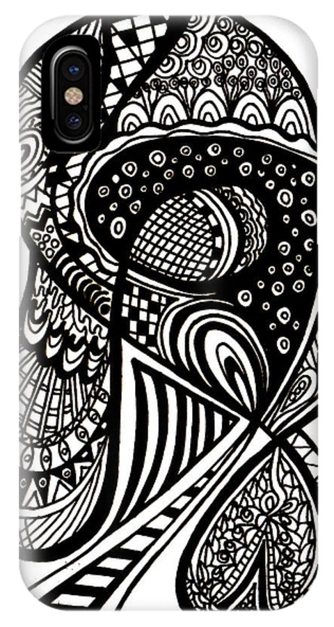 Abstract Work IPhone X Case featuring the drawing Abstract Rounding by Karen Elzinga