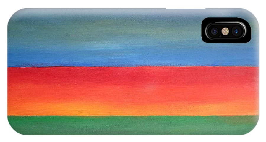 Abstract IPhone X Case featuring the painting Abstract Seascape by Patricia Cleasby