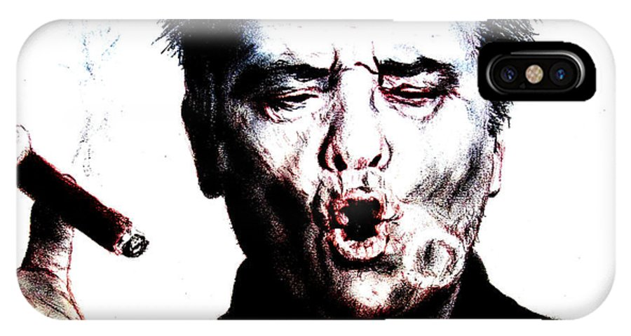 Jack Nicholson IPhone X Case featuring the drawing Actor Jack Nicholson Smoking II by Jim Fitzpatrick