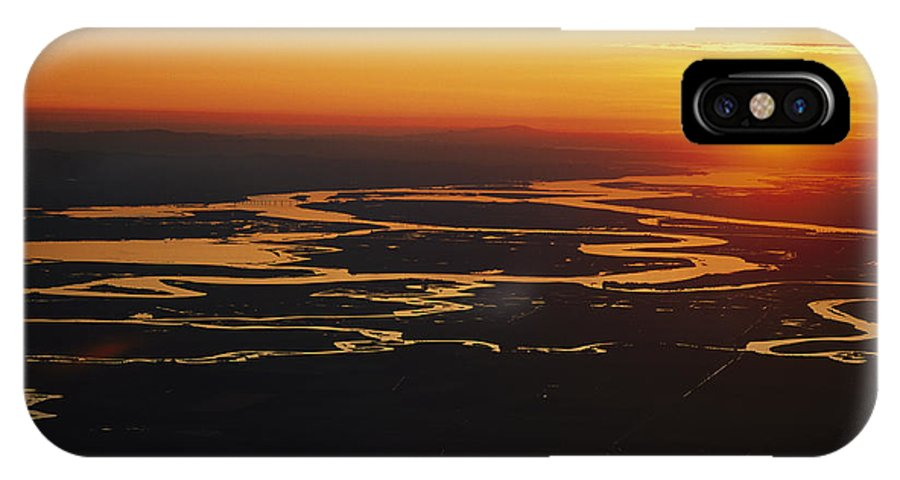 North America IPhone X / XS Case featuring the photograph Aerial Sunset Of The Suisun Slough by Rich Reid