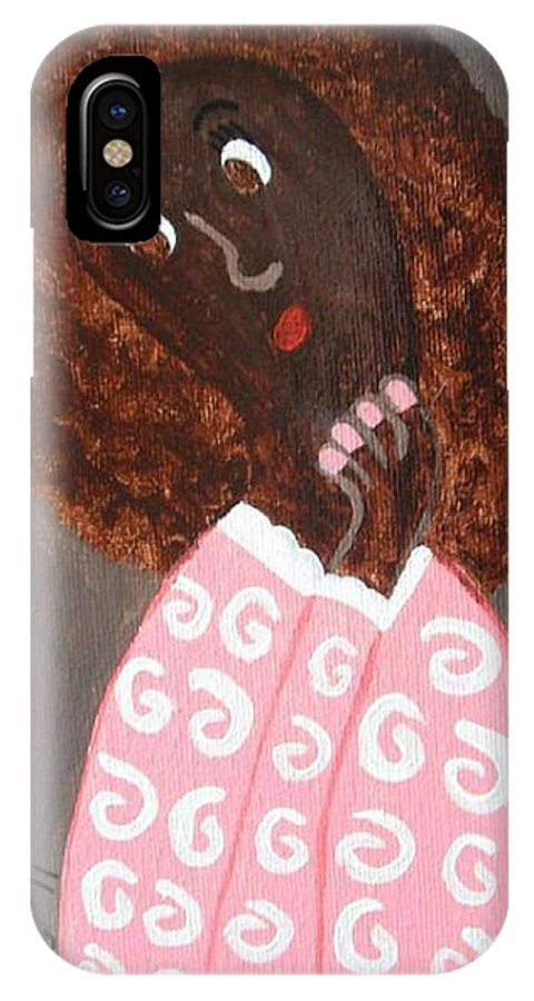 African IPhone X Case featuring the painting African American Girl Pondering by Jeannie Atwater Jordan Allen