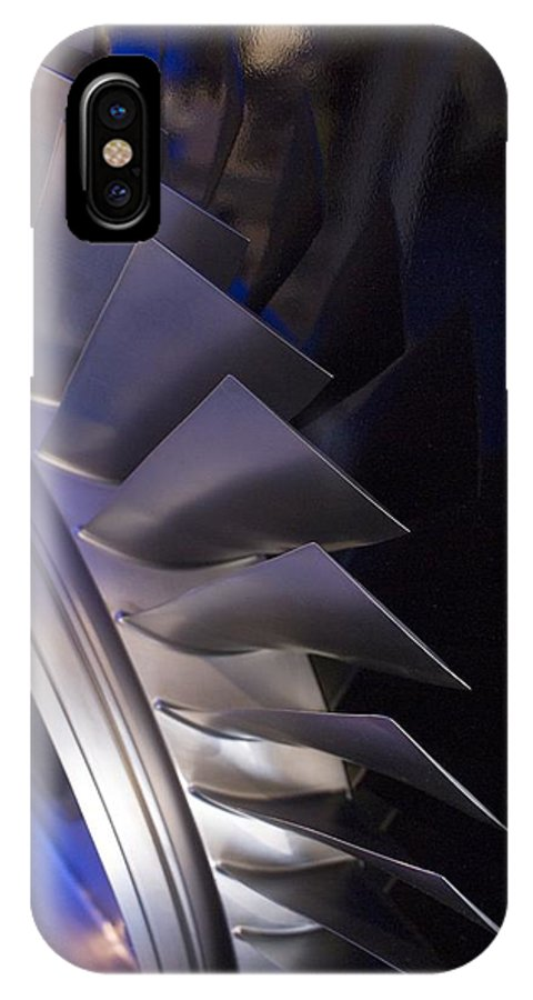 Aerospace IPhone X Case featuring the photograph Aircraft Engine Fan Blades. by Mark Williamson