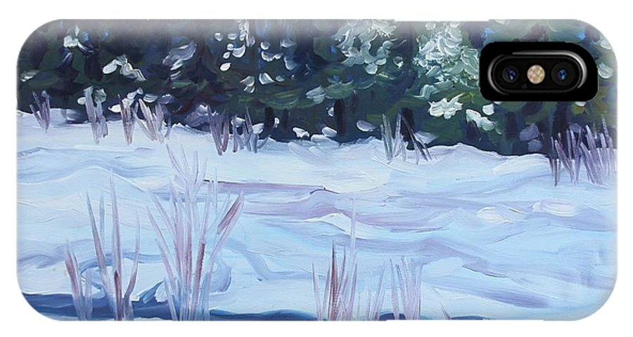 Snow IPhone X Case featuring the painting Alaska Day by Sheila Wedegis