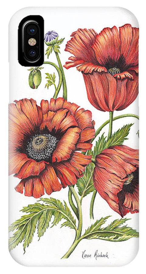 Poppy IPhone X Case featuring the painting All About Poppies by Karen Risbeck