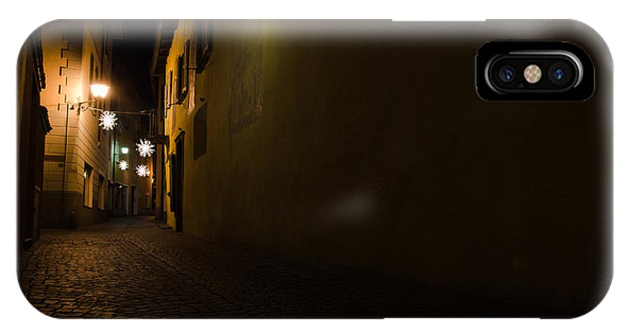 Alley IPhone X Case featuring the photograph Alley In Night With Lights by Mats Silvan