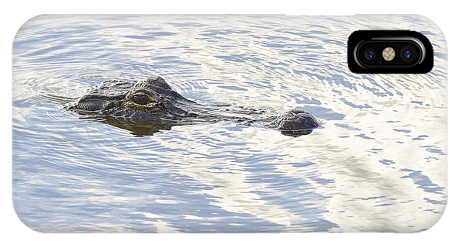 Wildlife IPhone X Case featuring the photograph Alligator With Sky Reflections by Bill Swindaman