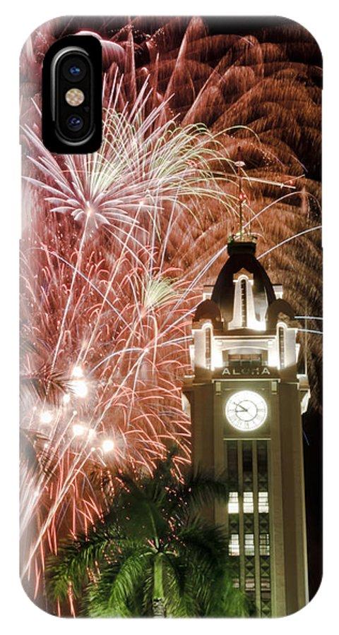 Aloha IPhone X Case featuring the photograph Aloha Tower Fireworks by Joe Carini - Printscapes