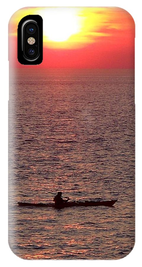 Lone Sailor In The Vastness Of The Bay; Alone In Nature; Man Vs. Nature. IPhone X Case featuring the photograph Alone At Sunset by Glenn McCurdy
