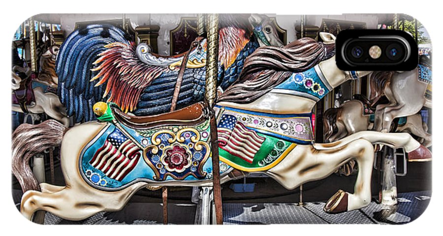 Wild Carrousel Horses IPhone X / XS Case featuring the photograph American Carousel Horse by Garry Gay