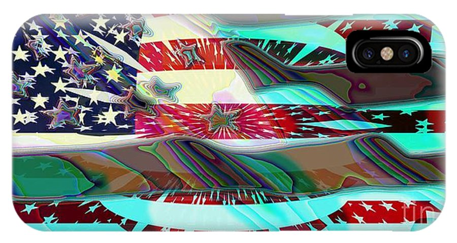 Flag IPhone X Case featuring the digital art American Flag 2 by Ron Bissett