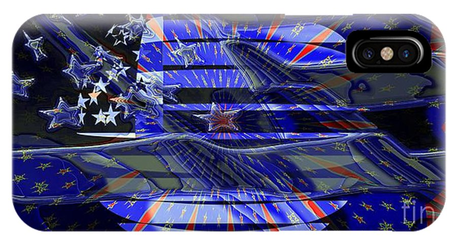 Flag IPhone X Case featuring the digital art American Flag 3 by Ron Bissett