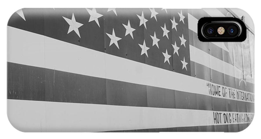 Brooklyn IPhone X Case featuring the photograph American Flag At Nathan's In Black And White by Rob Hans