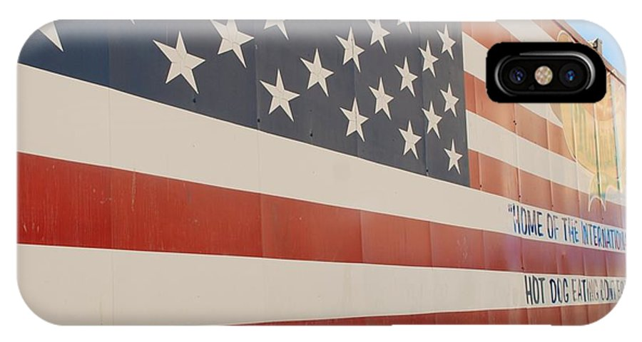 Brooklyn IPhone X Case featuring the photograph American Flag At Nathan's by Rob Hans