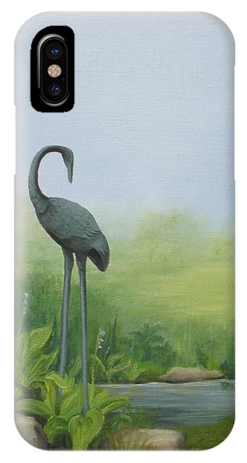 Crane IPhone X Case featuring the painting Among The Hostas by Mary Rogers