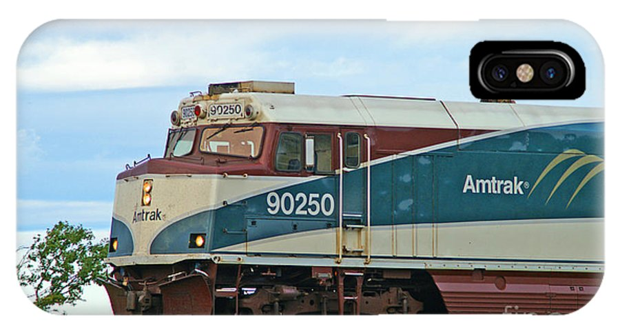 Trains IPhone X / XS Case featuring the photograph Amtrack Engine by Randy Harris