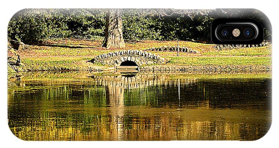Lake IPhone X Case featuring the photograph An Autumn Bridge by Martina Fagan