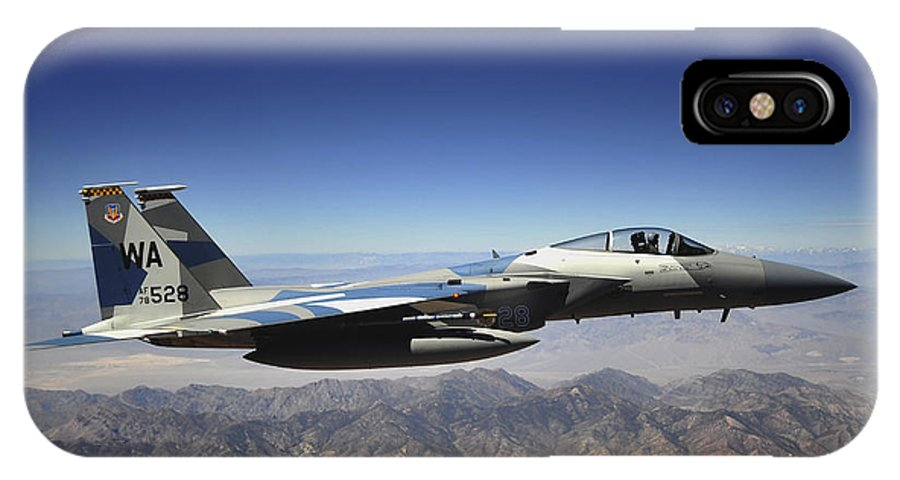 F-15 IPhone X Case featuring the photograph An F-15e Strike Eagle From The 65th by Stocktrek Images