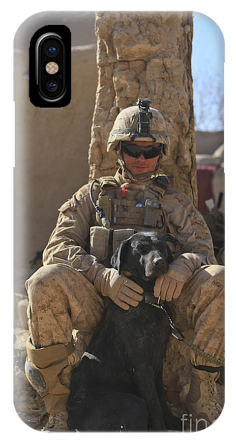 Operation Double Check IPhone X Case featuring the photograph An Ied Detection Dog Keeps His Dog by Stocktrek Images