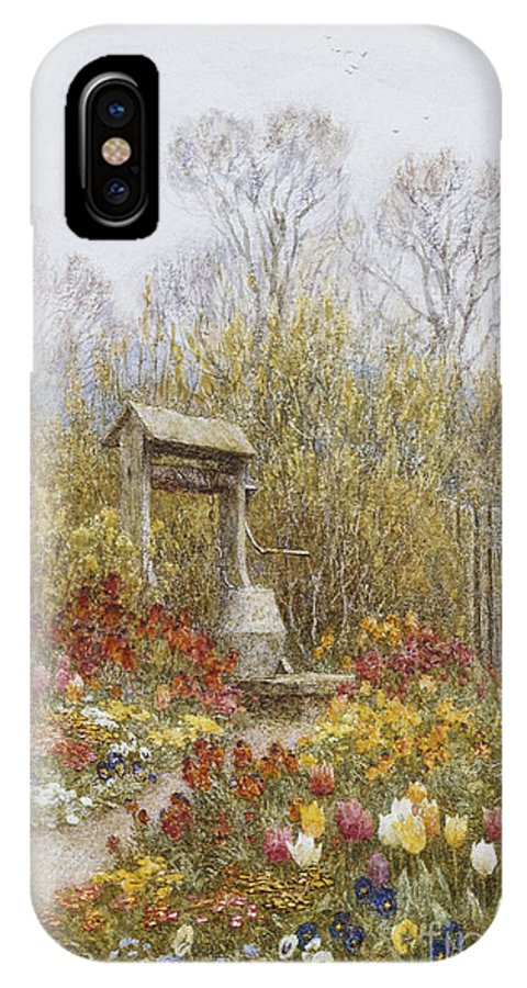 Village; Exterior; Cottage; Lane; Country; English; Landscape; C19th; C20th; Victorian; Mother; Child; Children; Girls; Female; Chickens IPhone X Case featuring the painting An Old Well Brook Surrey by Helen Allingham