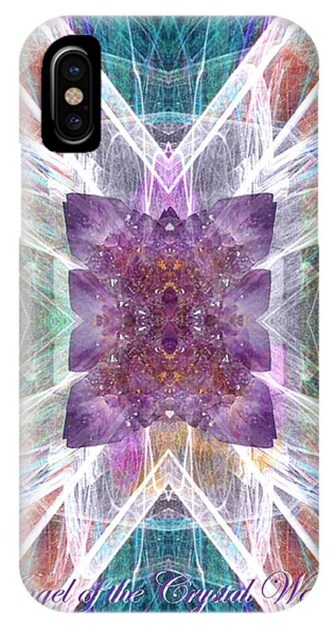 Angel IPhone X Case featuring the digital art Angel Of The Crystal World by Diana Haronis