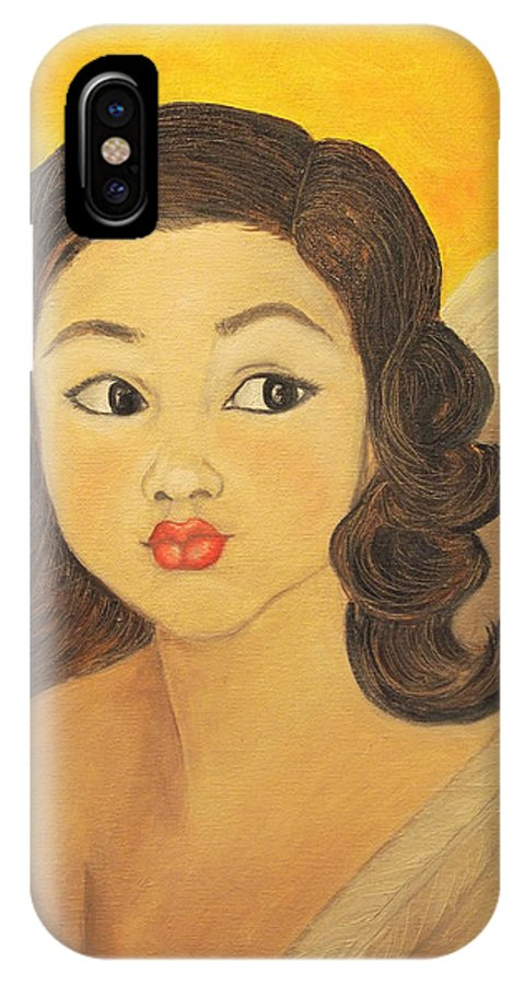 Angel IPhone X Case featuring the painting Angelito Travieso by Veronica Zimmerman