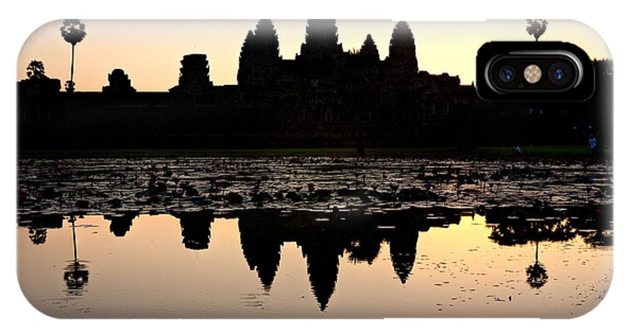 Ancient IPhone X Case featuring the photograph Angkor Wat At Sunrise by Luciano Mortula