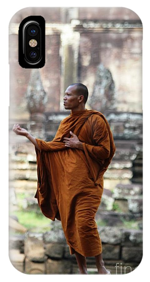 Ancient IPhone X Case featuring the photograph Angkor Wat Monk by Nola Lee Kelsey