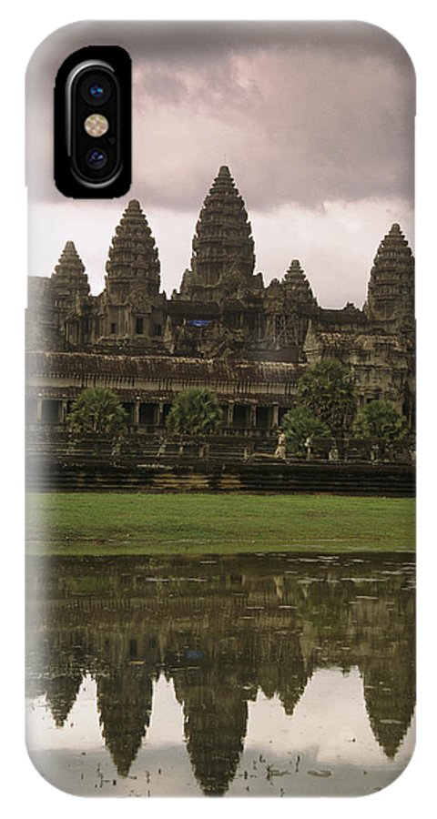 Religion IPhone X / XS Case featuring the photograph Angkor Wat Temple Reflected by Richard Nowitz
