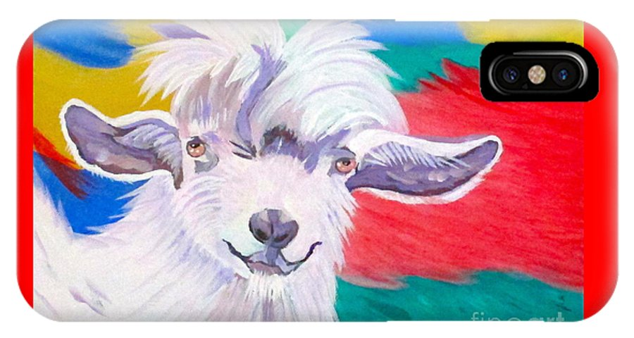 Angora IPhone X / XS Case featuring the painting Angora Sweetie by Phyllis Kaltenbach