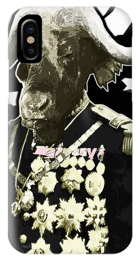 Buffalo IPhone X Case featuring the digital art Animal Family 9 General Buffalo by Travis Burns