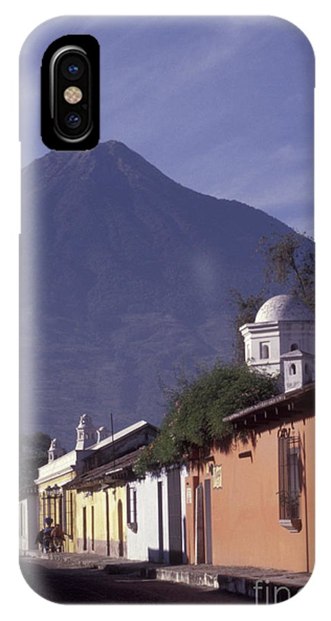 Guatemala IPhone X Case featuring the photograph Antigua Street With Volcano by John Mitchell