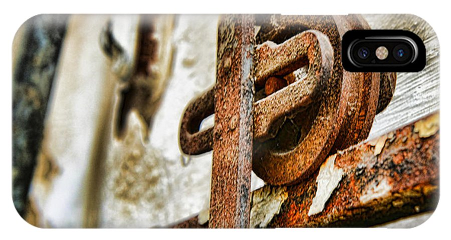 Antique IPhone X Case featuring the photograph Antique - Door Rail - Rusty by Paul Ward