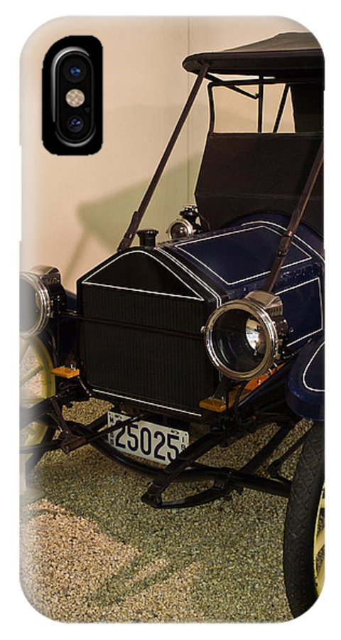 Automobile IPhone X Case featuring the photograph Antique Automobile With Yellow Spoke Wheels by Douglas Barnett